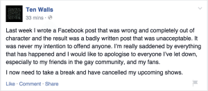 The apology posted a few days later.