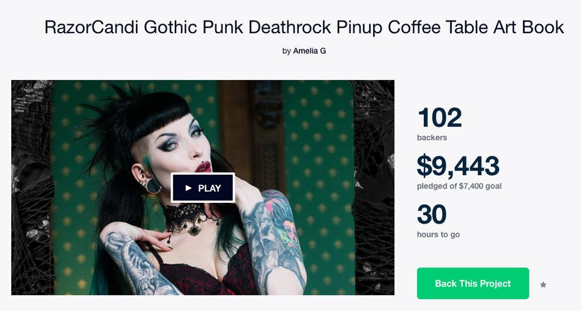 Last day on this must-have Kickstarter: RazorCandi gothic punk deathrock pinup coffee table art book