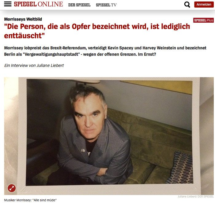 Morrissey attacks Merkel for destroying nation's identity:'I want Germany to be German'