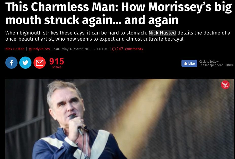 Morrissey comments on Independent article calling it'an extreme hate piece'