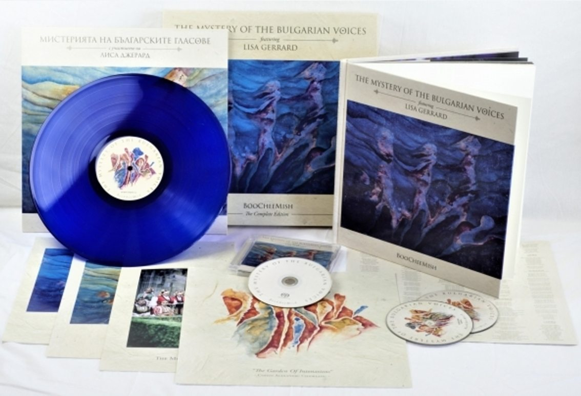 Massive boxset for the joined release between Lisa Gerrard (Dead Can Dance) and The Mystery Of The Bulgarian Voices:'Boocheemish' - formats available: CD/vinyl/2CD artbook/3CD + blue vinyl boxset