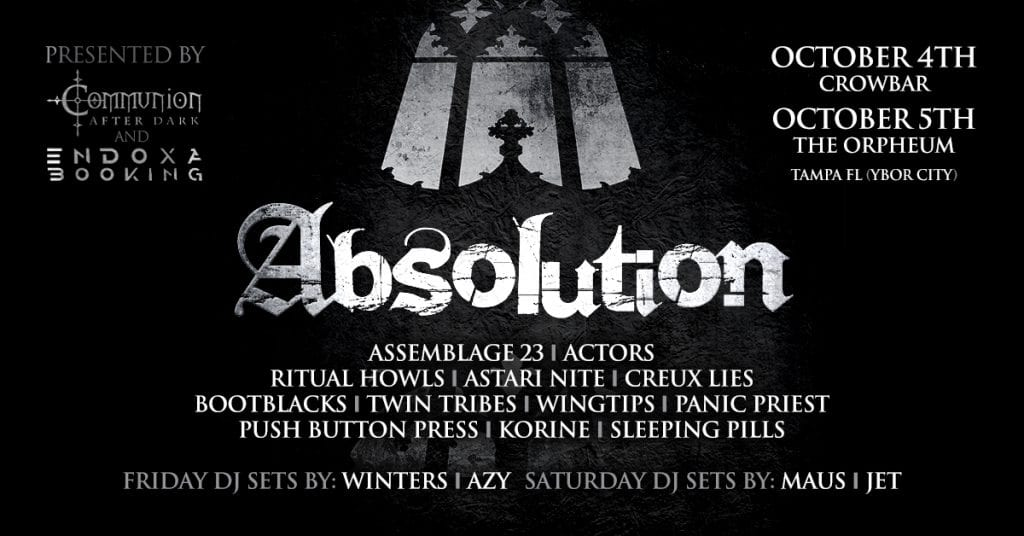 Absolution Festival announces dates and line up incl. Assemblage 23, Actors, ...