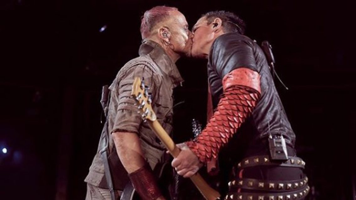 Rammstein guitarists Paul Landers and Richard Kruspe kiss during Moscow show - defying Russia's anti-LGBT laws