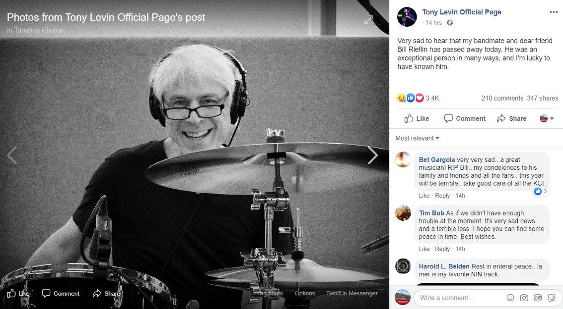 R.I.P. Bill Rieflin - Ministry / Nine Inch Nails drummer looses battle with cancer