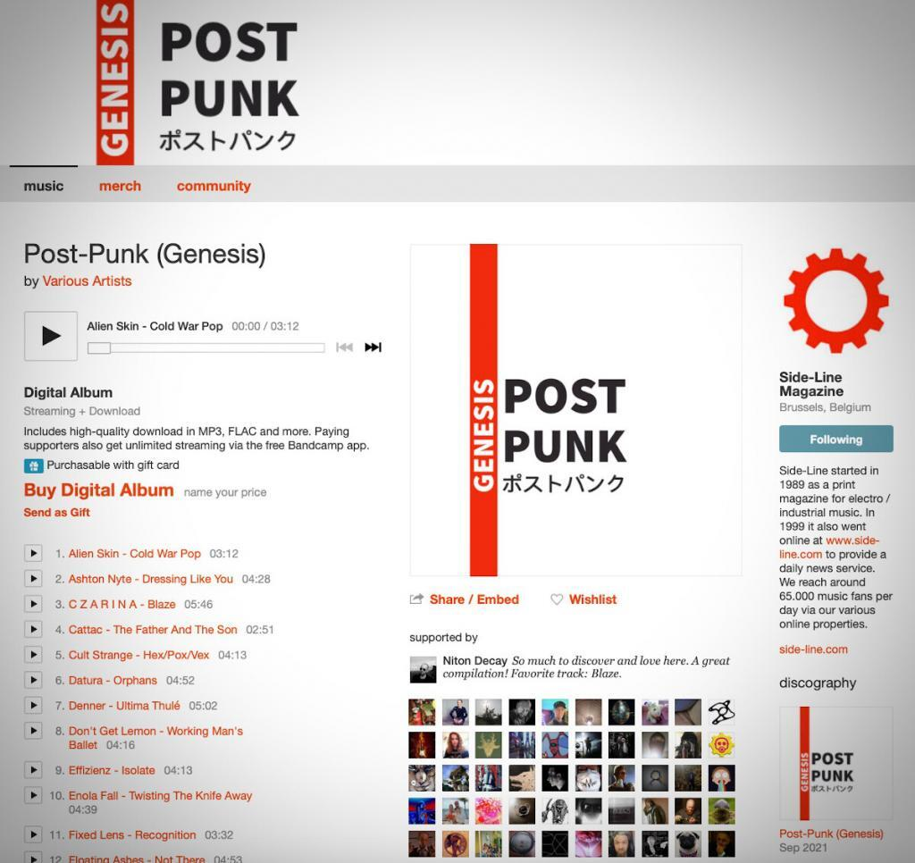 'Post-Punk (Genesis)', a 44-track free download compilation powered by Side-Line hits top 3 on Bandcamp in 24 hours